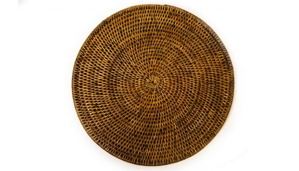 Placemat chocolate rattan round