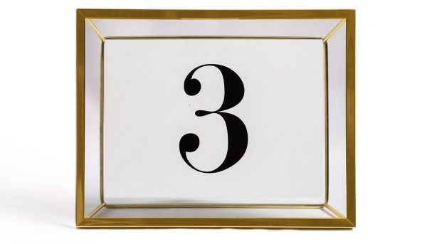 Table number frame brass