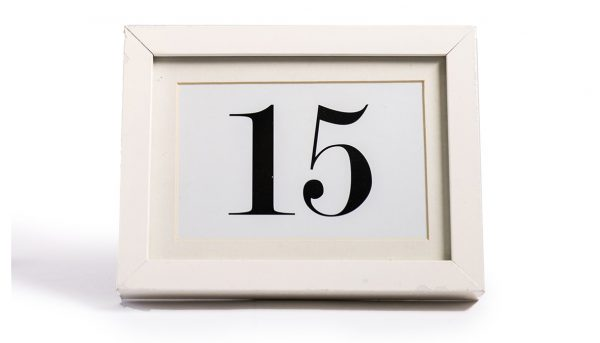 Table number frame white