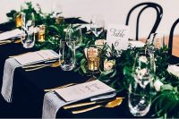 Black table linen hire