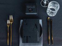 Black Weave overlays with Mist Weave napkins
