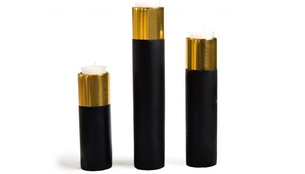 Black and Gold votive candlesticks