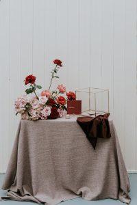 Blush Weave overlay and Mulberry Velvet napkin