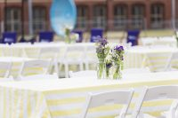 Canary Stripe table linen hire