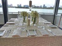 creamy white table linen hire