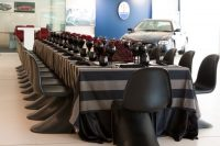 Charcoal Stripe overlays with Black Weave napkins