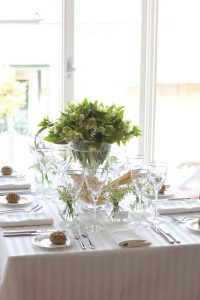 Cloud Stripe table linen hire