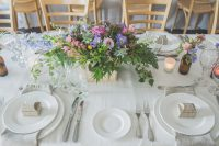 Eggshell Patchwork table linen hire