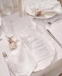 Eggshell Patchwork overlays with White Linen Spoke napkins