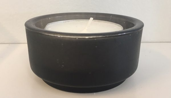 Flat squat charcoal votive