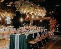 Forest Weave overlays Dove Chiffon table runners Seafoam Weave napkins