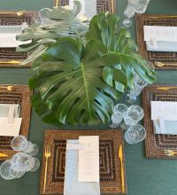 Forest Weave overlays with Seafoam Weave napkins on Chocolate Rattan placemats