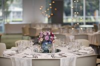 Ivory floral table linen hire