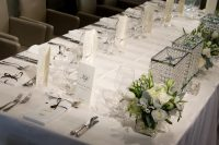Ivory Stripe table linen hire
