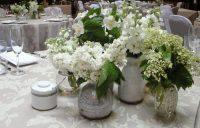Latte floral table linen hire
