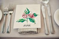 Linen Stripe overlays with Natural Linen Spoke napkins