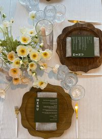Linen Stripe overlays with Oatmeal Weave napkins