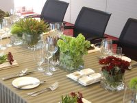 Moss Stripe table linen hire