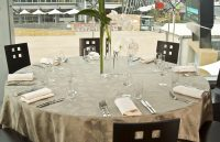 Mushroom floral table linen hire