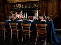 Navy Weave overlay with Navy Chiffon table runner