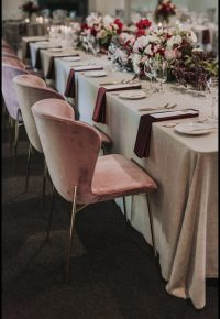 Oatmeal Weave overlays with Mulberry Velvet napkins
