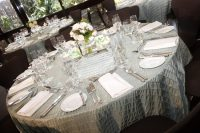 gray table linen hire