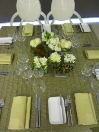 yellow and green table linen hire