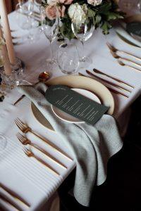 Seafoam weave napkins with white sheer stripe overlay