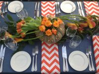 Tangerine Chevron table linen hire
