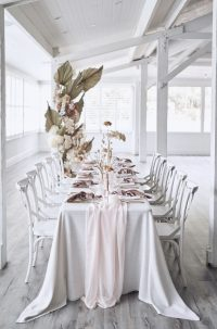 Whisper Weave overlays with Rosewater Chiffon table runners Marshmallow Velvet napkins
