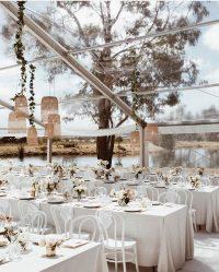 Whisper Weave overlays with White Linen Spoke napkins