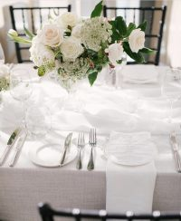 White Chiffon table runner on Whisper Weave overlay with White Linen Spoke napkins