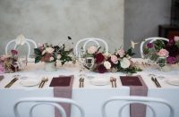 White Weave overlays with Blush Weave napkins