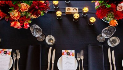 Grey and Black Table Linen Hire