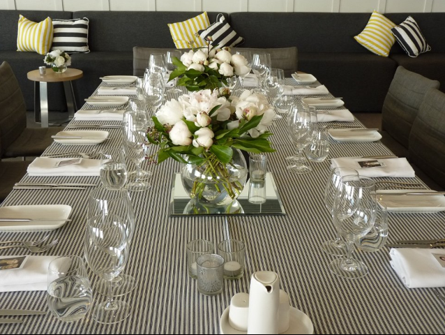 Table linen hire - black and white
