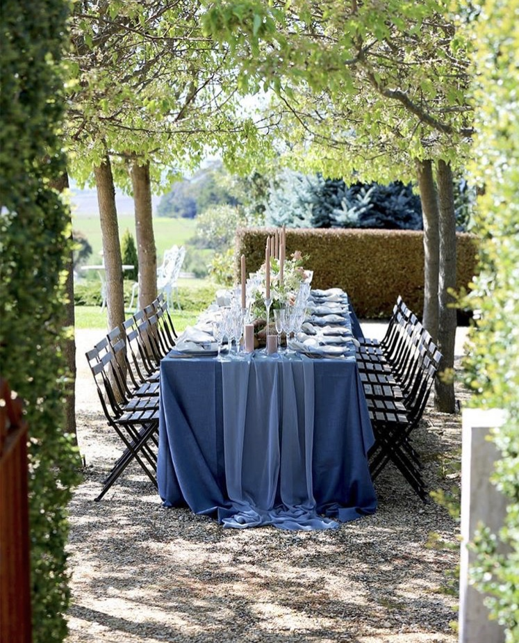 blue table linen hire