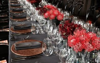 Gunmetal weave table line hire