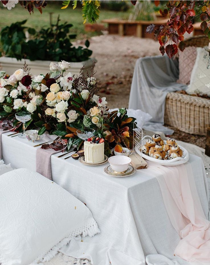 Rosewater chiffon table runner
