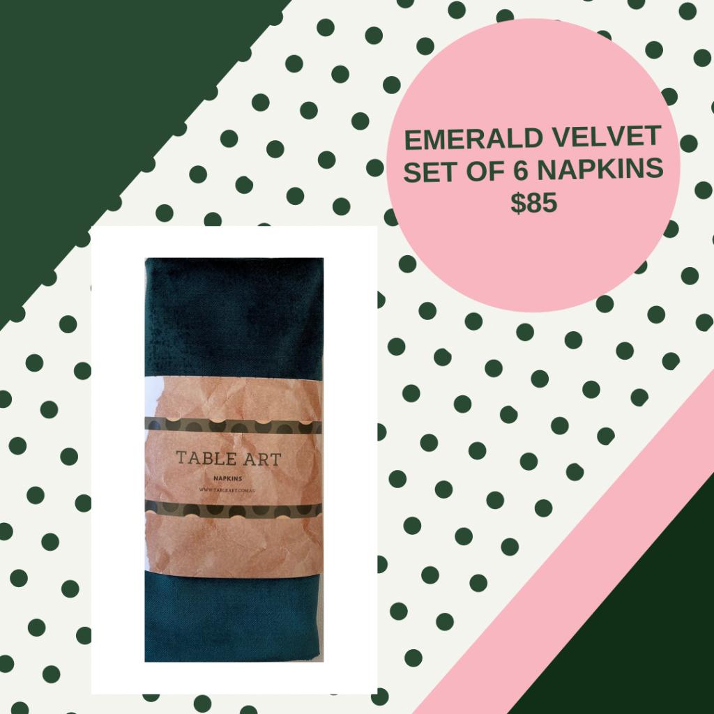 Emerald velvet napkin set
